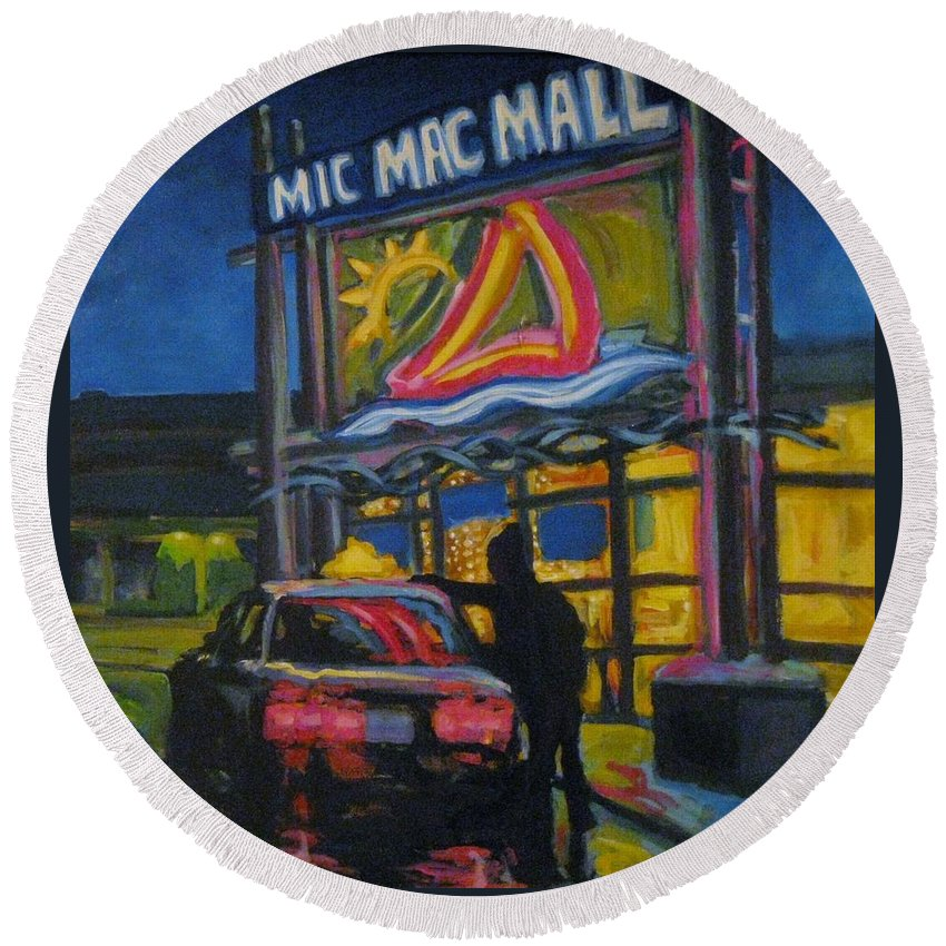 Retail Round Beach Towel featuring the painting Mic Mac Mall Spectre Of The Next Great Depression by John Malone