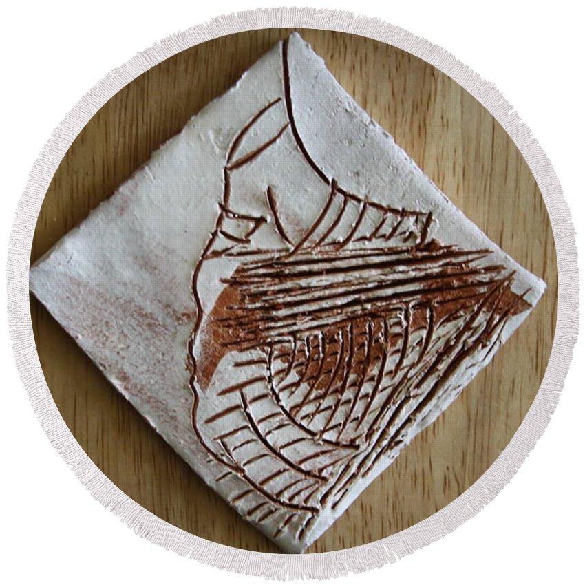 Jesus Round Beach Towel featuring the ceramic art Micah - Tile by Gloria Ssali