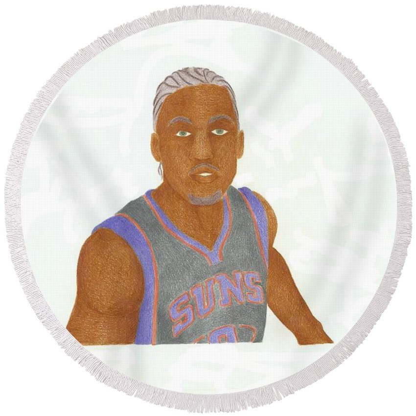 Basketball Round Beach Towel featuring the drawing Michael Beasley by Toni Jaso