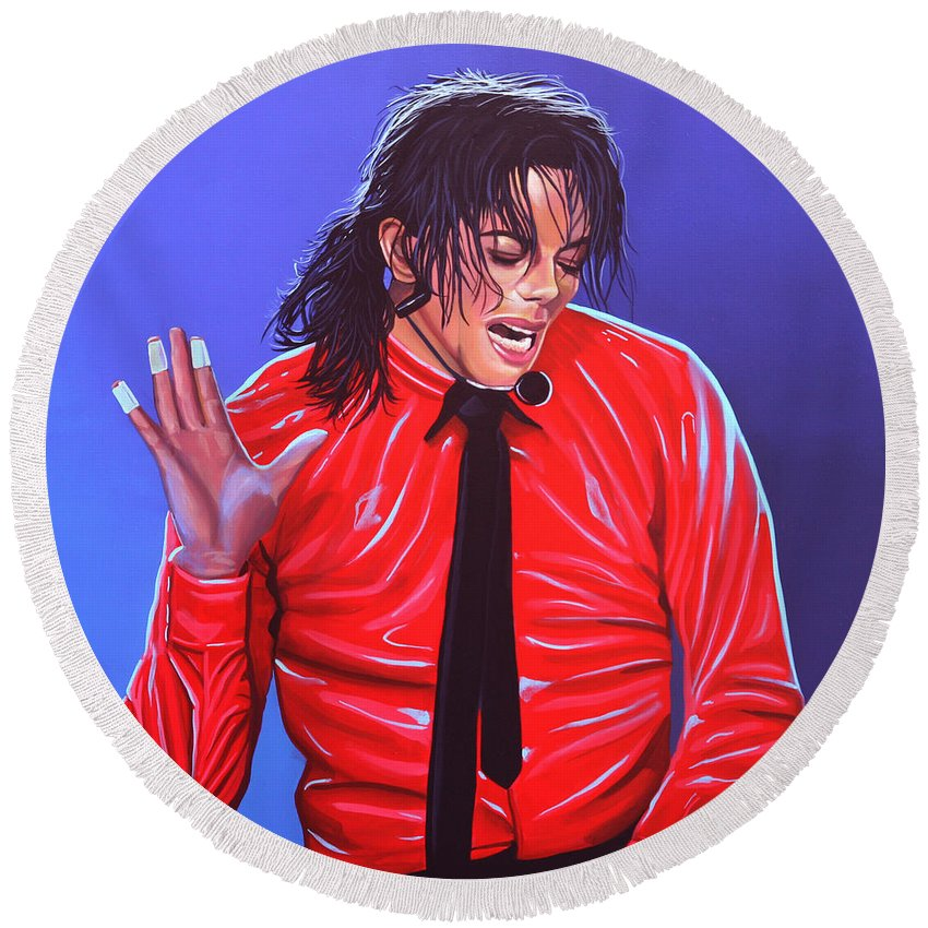 Michael Jackson Round Beach Towel featuring the painting Michael Jackson 2 by Paul Meijering