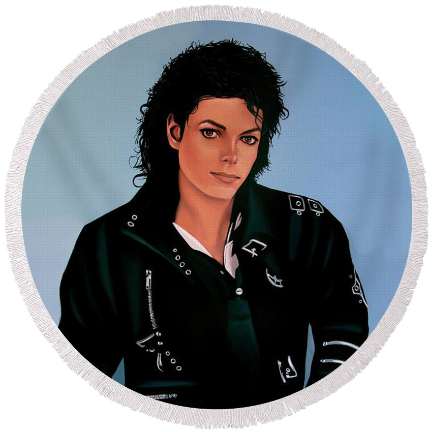 Music King Of Pop Round Beach Towels