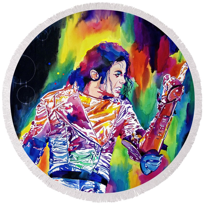 Michael Jackson Round Beach Towel featuring the painting Michael Jackson Showstopper by David Lloyd Glover