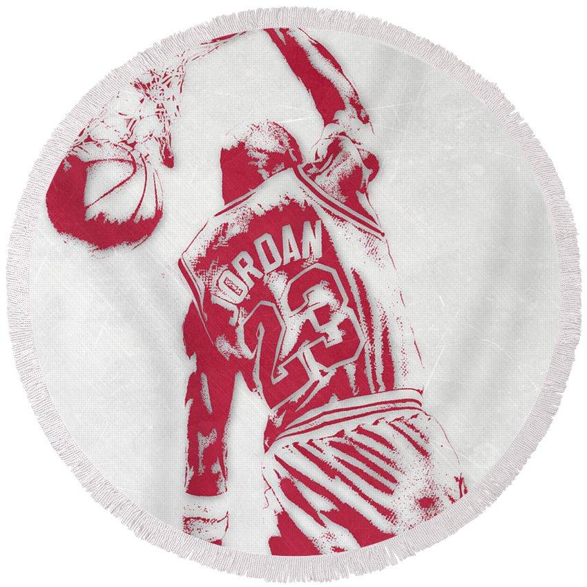51a713c6a53 Michael Jordan Round Beach Towel featuring the mixed media Michael Jordan  Chicago Bulls Pixel Art 1