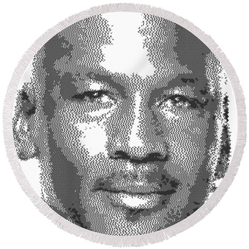 d2fc53d22894dd Michael Round Beach Towel featuring the drawing Michael Jordan - Cross  Hatching by Samuel Majcen
