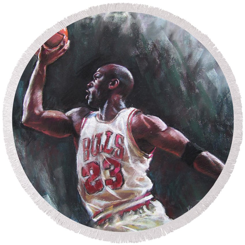 Michael Jordan Round Beach Towel featuring the pastel Michael Jordan by Ylli Haruni