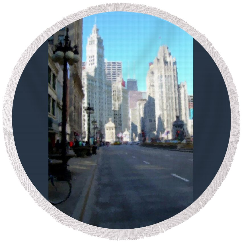 Chicago Round Beach Towel featuring the digital art Michigan Ave Tall by Anita Burgermeister