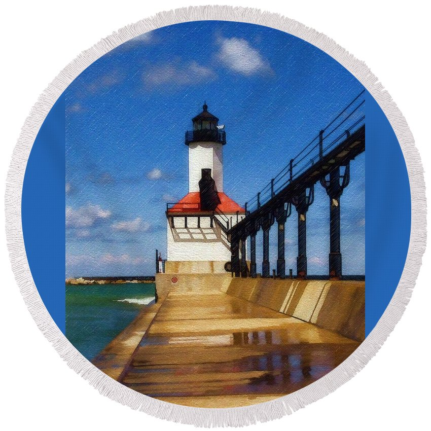 Lighthouse Round Beach Towel featuring the photograph Michigan City Light 1 by Sandy MacGowan
