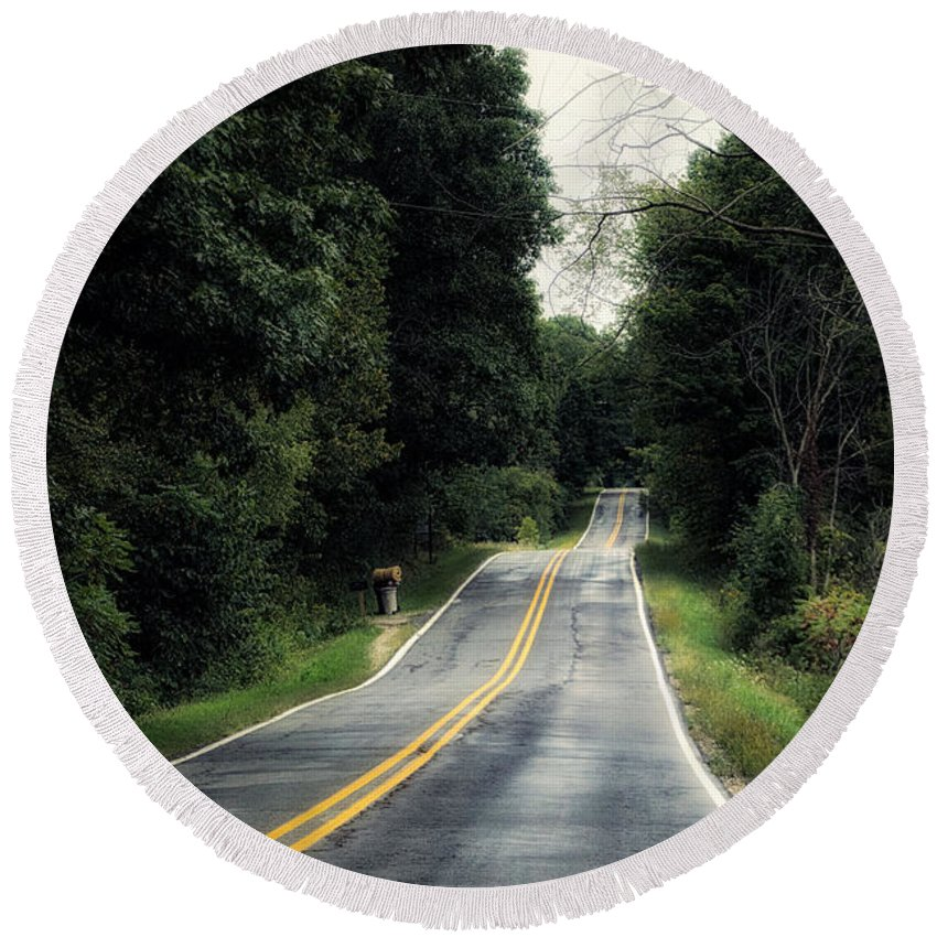 Michigan Round Beach Towel featuring the photograph Michigan Rural Roadway In September by Thomas Woolworth