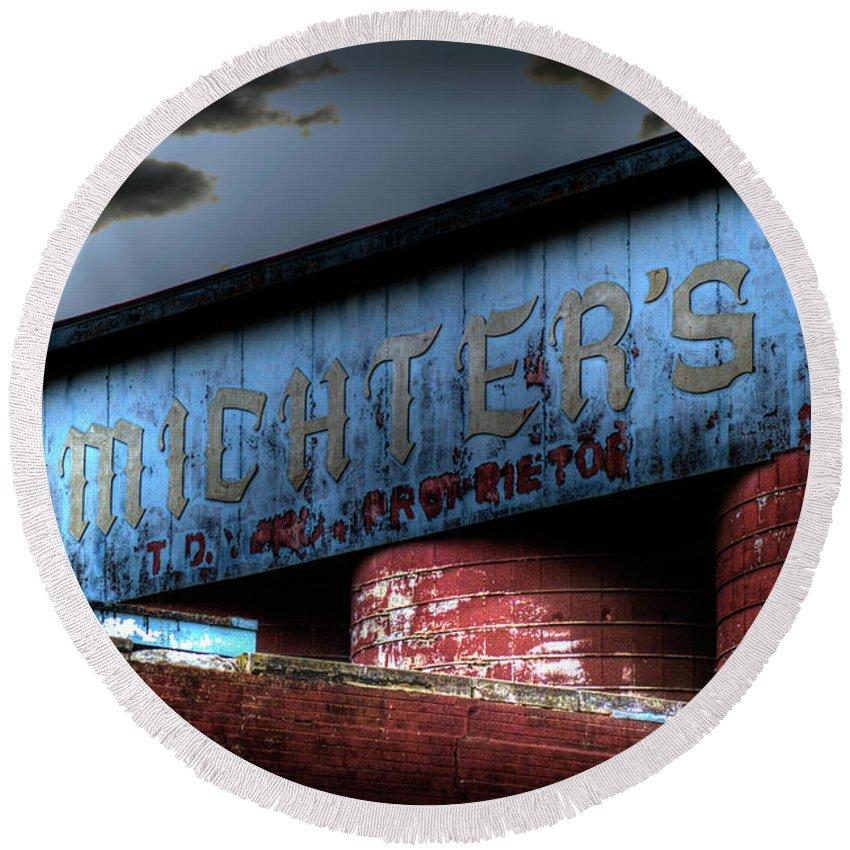 Mitcher's Round Beach Towel featuring the photograph Michter's Brew by Scott Wyatt