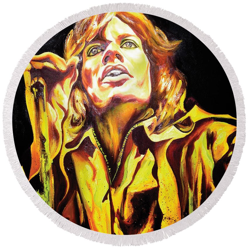 Mick Jagger Round Beach Towel featuring the painting Mick by Jacqueline DelBrocco