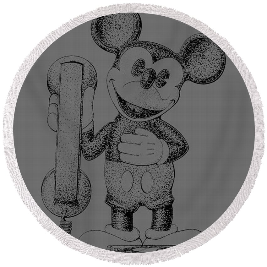 Mickey; Mouse; Novelty; Phone; Patent; 1978; Toy; Walt; Disney; Us; Inventor; Invention; Fashion; Design; Abstract; Brand; T-shirt; Hoodies; Patent Illustration; Crafts; Blueprint; Collectable; Vintage Patent; Nostalgia; Technical Illustration; Patent Drawing; Exclusive Rights; Rights; Drawing; Illustration; Presentation; Vintage; Gift; Diagram; Antique; Patentee; Men's; Men; Women; Women's; Boy; Girl; Patent Application; Home Decor; Grunge; Distress; Parchment; Old; Graphic; Chris Smith Round Beach Towel featuring the photograph Mickey Mouse Novelty Phone Patent 1978 by Chris Smith