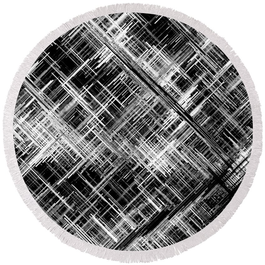Black And White Round Beach Towel featuring the digital art Micro Linear Black And White by Will Borden