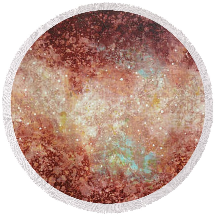 Large Abstract Round Beach Towel featuring the painting Microcosm by Jaison Cianelli