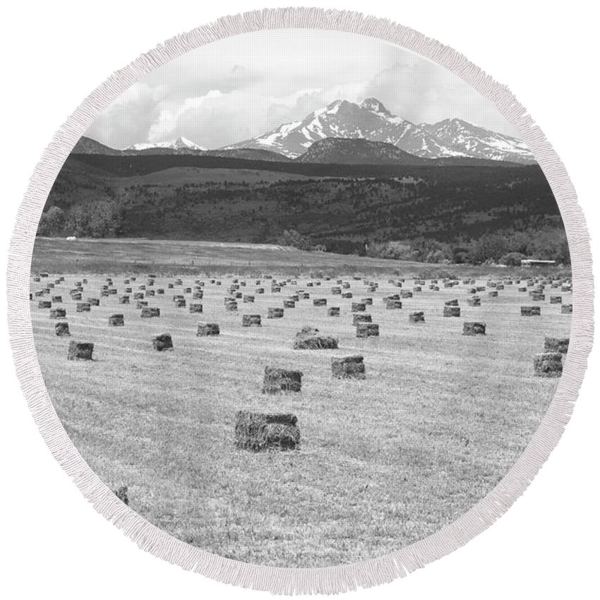 Country Round Beach Towel featuring the photograph Mid June Colorado Hay And The Twin Peaks Longs And Meeker Bw by James BO Insogna