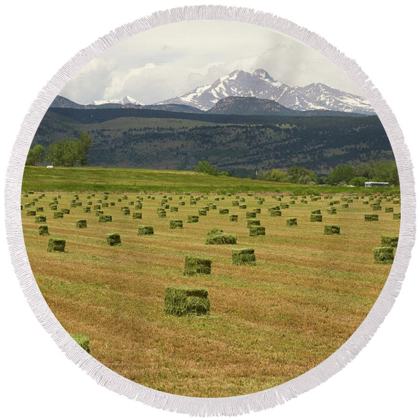 Country Round Beach Towel featuring the photograph Mid June Colorado Hay And The Twin Peaks Longs And Meeker by James BO Insogna