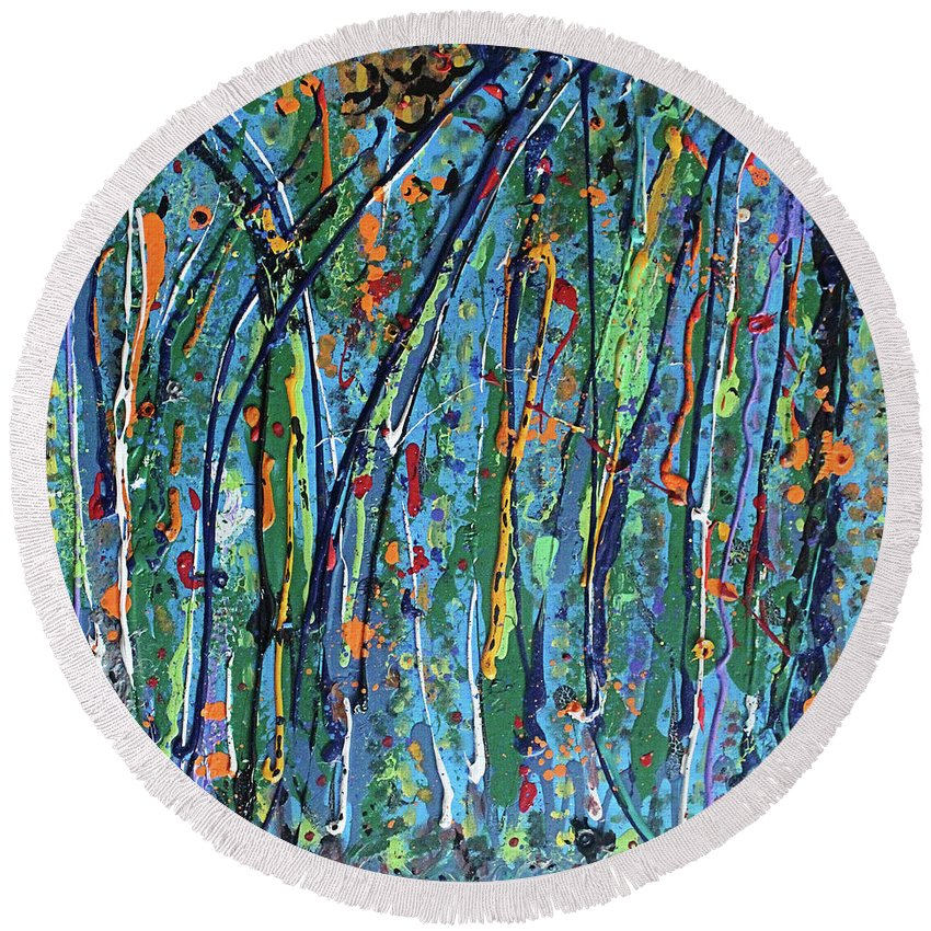 Bright Round Beach Towel featuring the painting Mid-Summer Night's Dream by Pam Roth O'Mara
