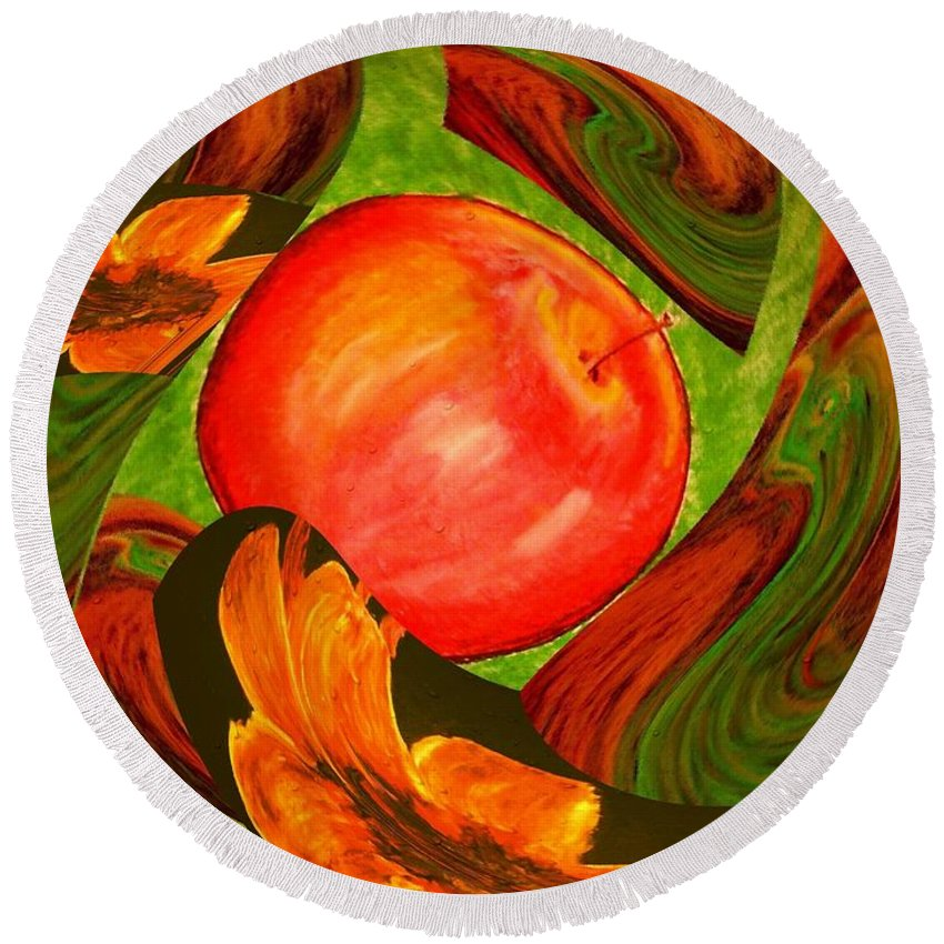 Apple Round Beach Towel featuring the digital art Middle Of The Garden by Melvin Moon