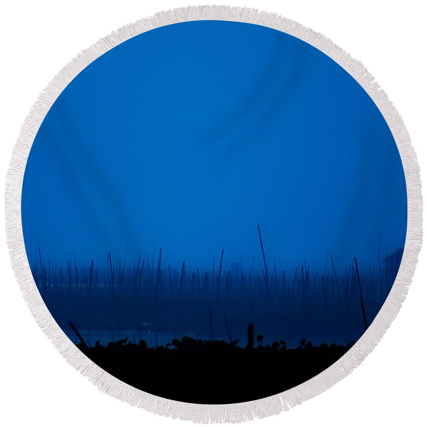 Lake Round Beach Towel featuring the photograph Midnight Blue by George Cabig