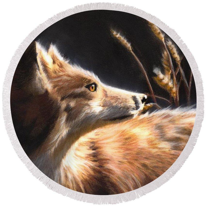 Fox Round Beach Towel featuring the painting Midnight Fox by Melissa Herrin