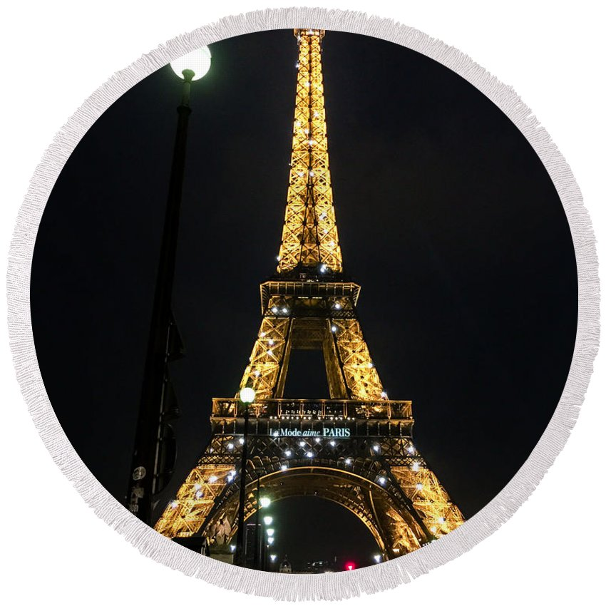 Paris Round Beach Towel featuring the digital art Midnight In Paris by Mia DeBolt