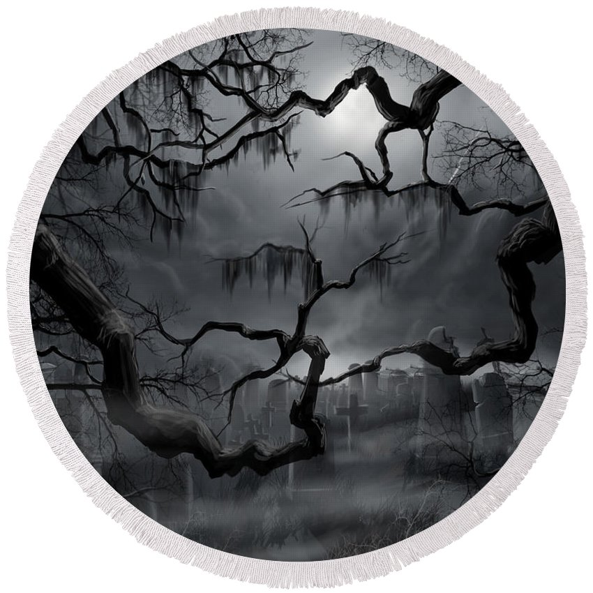 Ghosts Round Beach Towel featuring the painting Midnight in the Graveyard II by James Christopher Hill