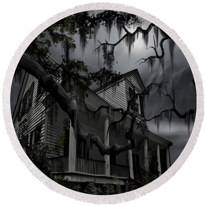 Ghosts Round Beach Towel featuring the painting Midnight in the House by James Christopher Hill