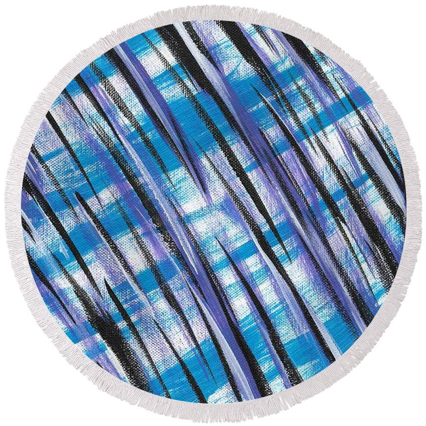 Abstract Round Beach Towel featuring the painting Midnight Over Spring by Eric Atherton