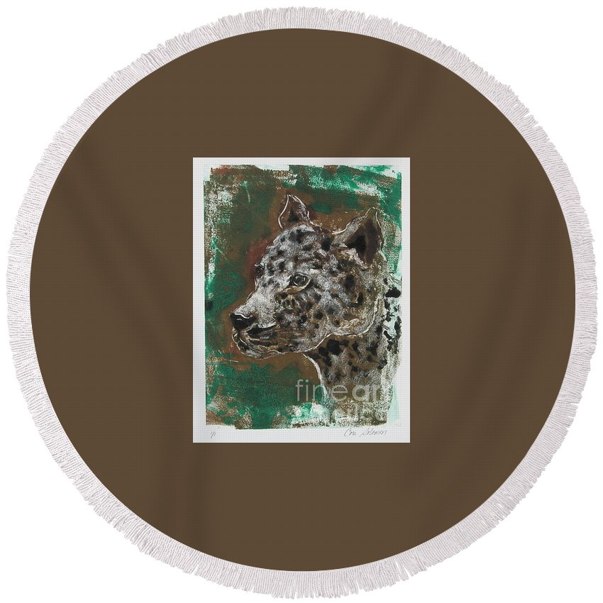 Monotype Round Beach Towel featuring the mixed media Midnight Prowler by Cori Solomon