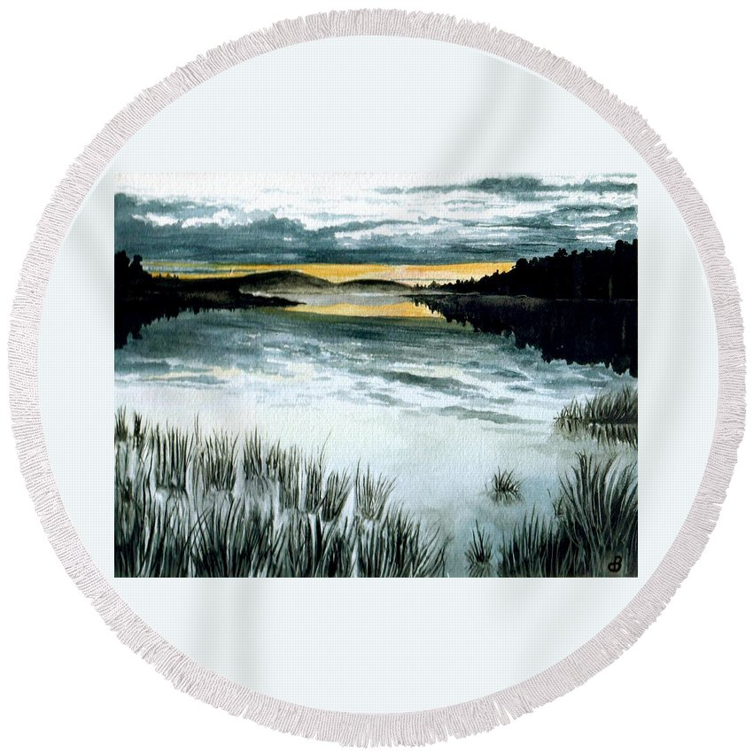 Watercolor Round Beach Towel featuring the painting Midnight Sun by Brenda Owen