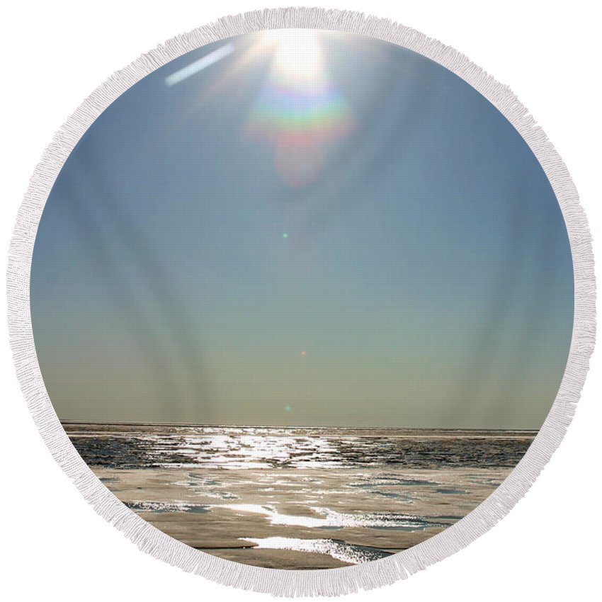 Arctic Round Beach Towel featuring the photograph Midnight Sun Over The Arctic by Anthony Jones