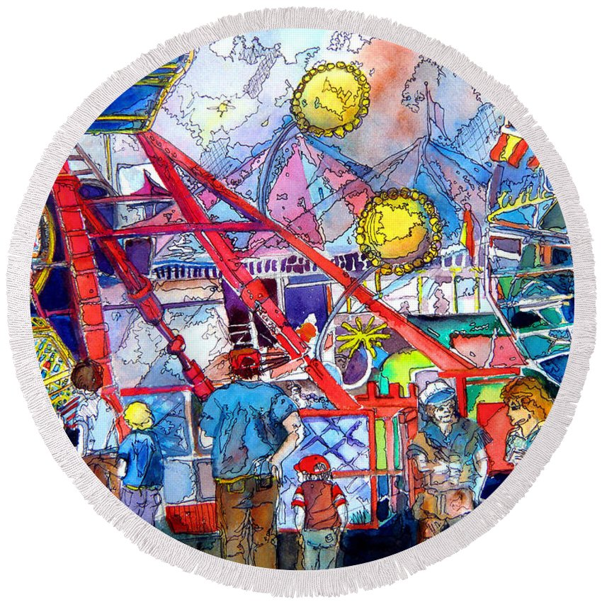 Midway Round Beach Towel featuring the painting Midway Amusement Rides by Mindy Newman