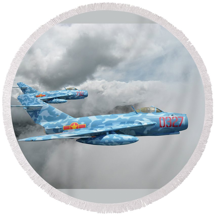 Mig-17 Fighter Round Beach Towel featuring the photograph Mig 17s On The Hunt by Rob Lester