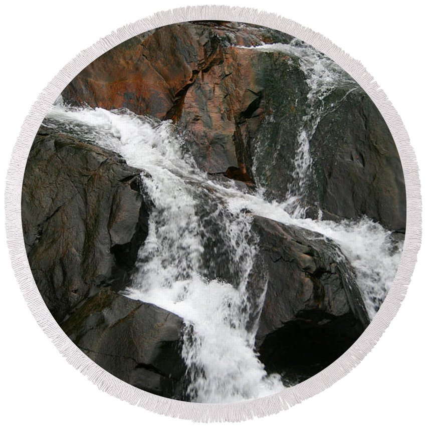 Water Waterfall Rush Rushing Cold River Creek Stream Rock Stone Wave White Wet Round Beach Towel featuring the photograph Might by Andrei Shliakhau