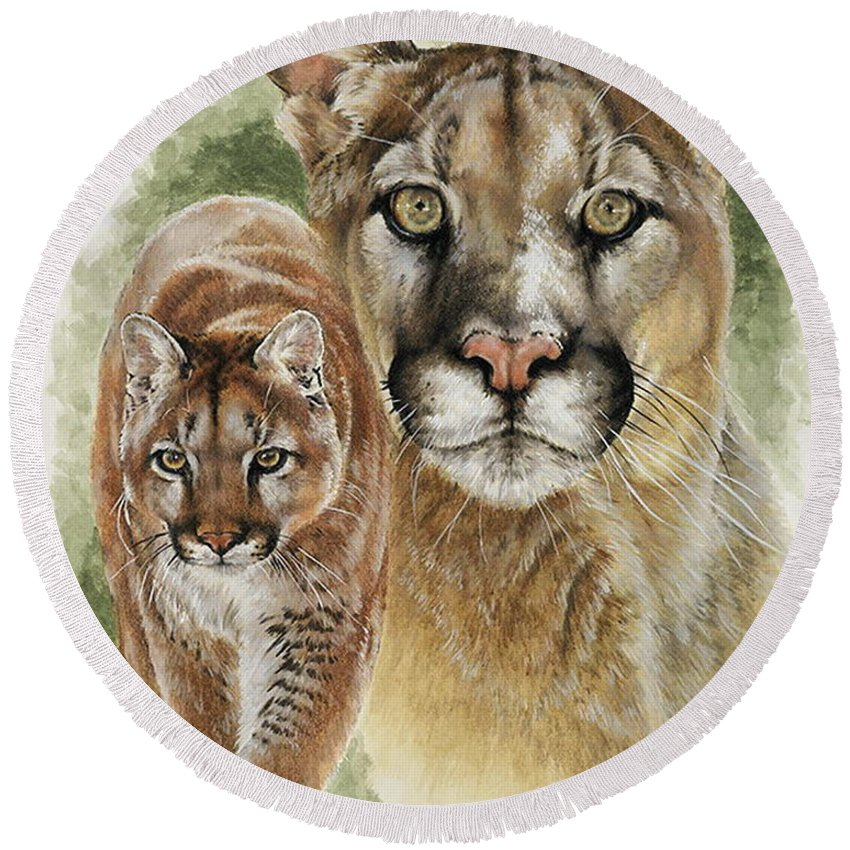 Cougar Round Beach Towel featuring the mixed media Mighty by Barbara Keith