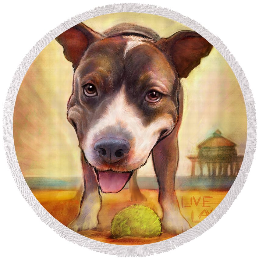 Dog Round Beach Towel featuring the painting Live. Laugh. Love. by Sean ODaniels