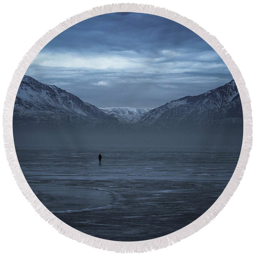 Mountains Round Beach Towel featuring the photograph Mighty Walk by Alex Browne