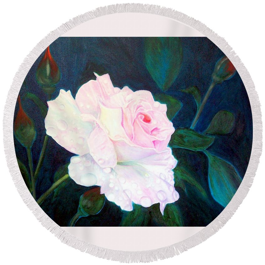 Flowers Round Beach Towel featuring the painting Midnight Rose by John Gabb