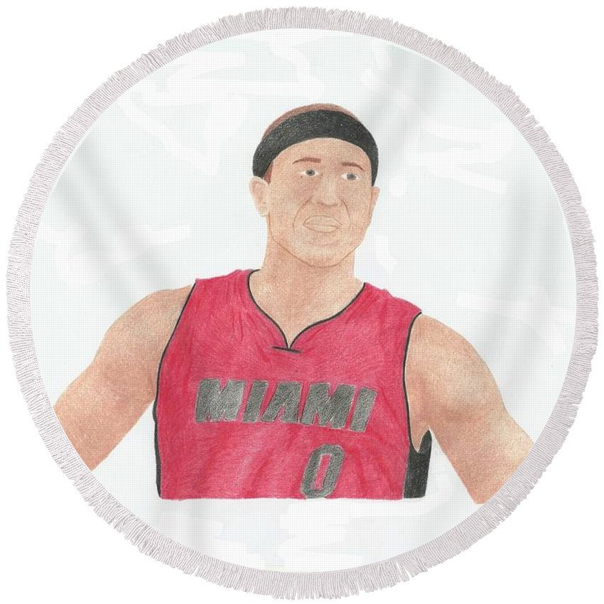 Basketball Round Beach Towel featuring the drawing Mike Bibby by Toni Jaso