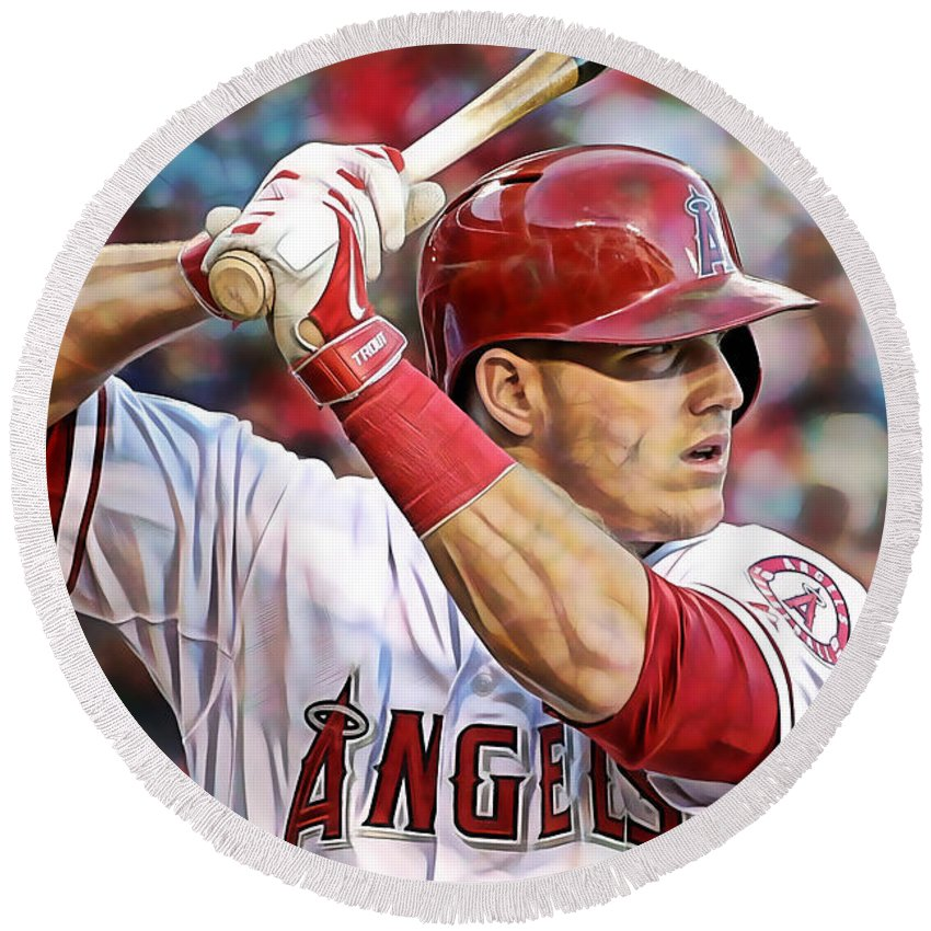 Mike Trout Round Beach Towel featuring the mixed media Mike Trout Baseball by Marvin Blaine