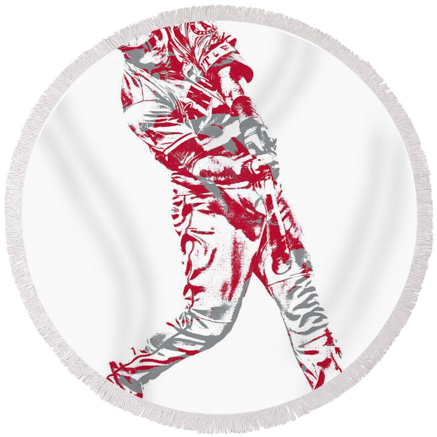Mike Trout Round Beach Towel featuring the mixed media Mike Trout Los Angeles Angels Pixel Art 20 by Joe Hamilton