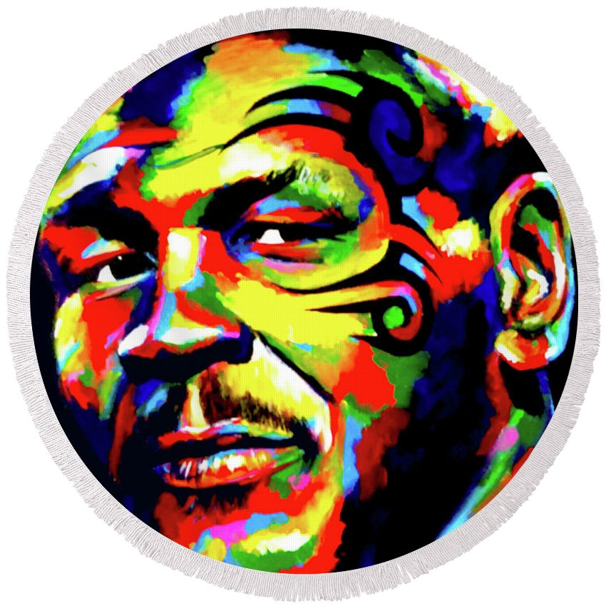 Mike Tyson Round Beach Towel featuring the painting Mike Tyson Abstract by Chris Bardell