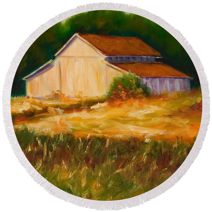 Barn Round Beach Towel featuring the painting Mike's Barn by Shannon Grissom