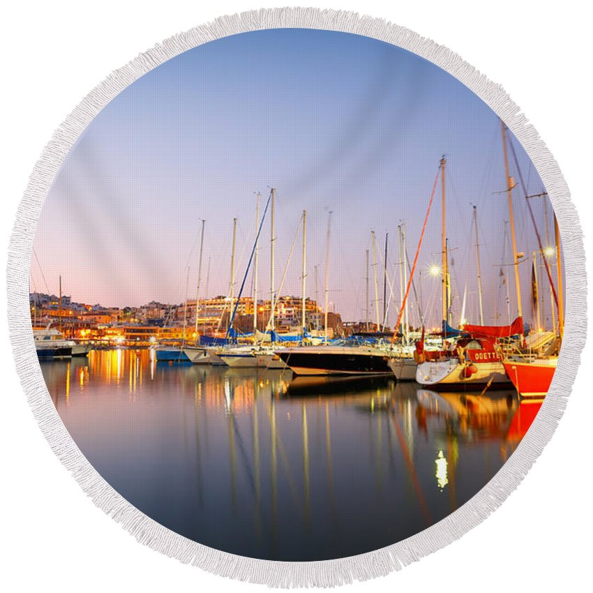 Athens Round Beach Towel featuring the photograph mikrolimano 'III by Milan Gonda