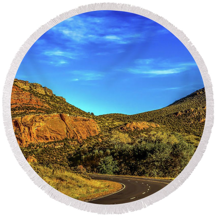 Jon Burch Round Beach Towel featuring the photograph Mile 84 by Jon Burch Photography
