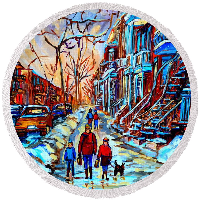 Montreal Round Beach Towel featuring the painting Mile End Montreal Neighborhoods by Carole Spandau