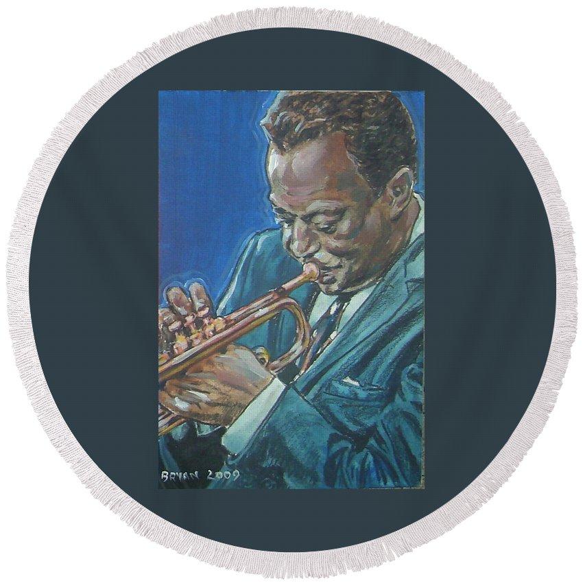 Miles Davis Round Beach Towel featuring the painting Miles Davis by Bryan Bustard