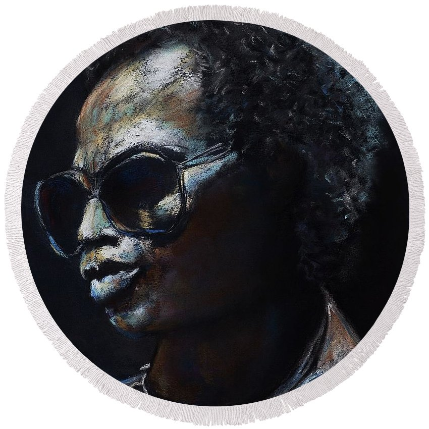 Miles Davis Round Beach Towel featuring the painting Miles Davis by Frances Marino