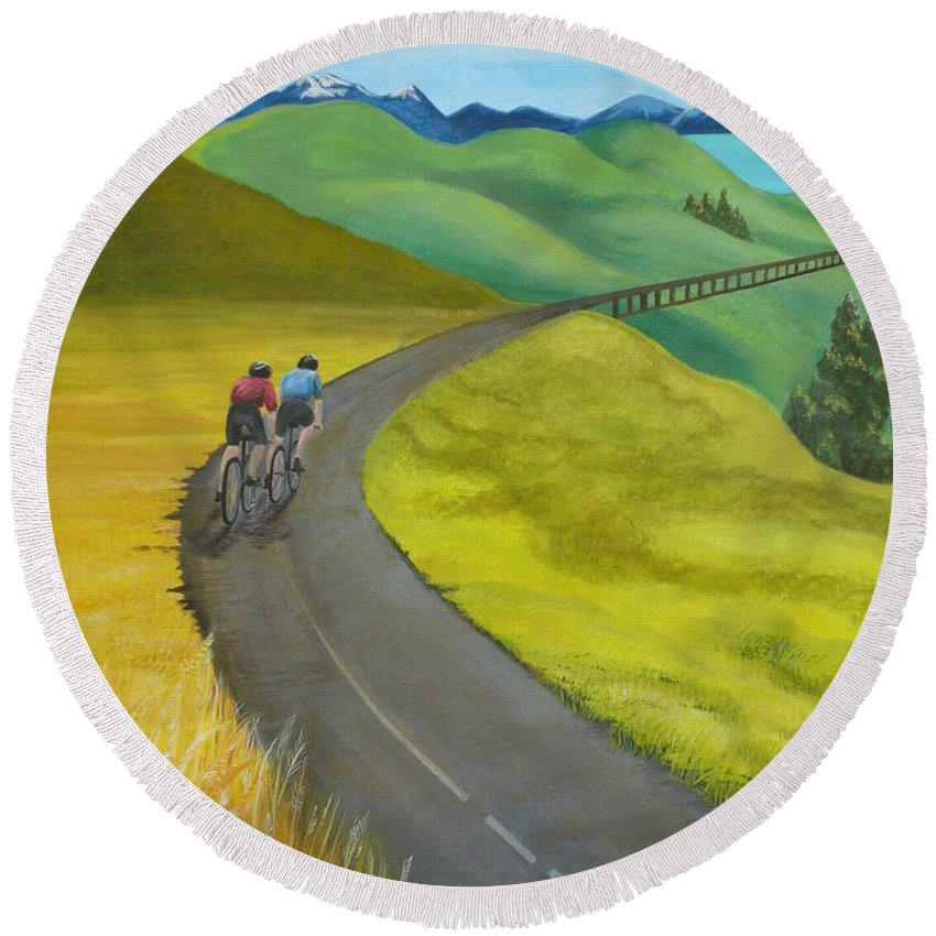 Bicycles Round Beach Towel featuring the painting Miles To Go by Kris Crollard