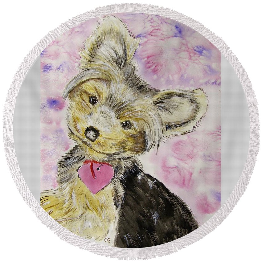 Yorkshire Terrier Round Beach Towel featuring the painting Miley by Carol Blackhurst