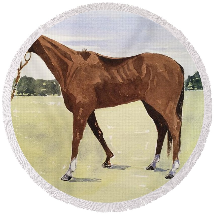 Horse Round Beach Towel featuring the painting Milica by Robert Fugate